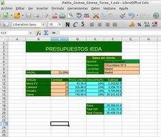 Esta es una tarea muy útil donde calculamos un presupuesto el cuál se puede utilizar por ejemplo para una tienda.