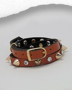 Gold-tone Spike Rhinestone Pumpkin Orange Leather Wrap Bracelet Buckle Closure $23
