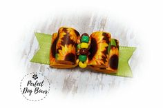 Sunflowers Dog Bow, Fall Dog Bow, Fall Pet Hair Bow, Autumn Dog Fashion, Fall Dog Fashion, Autumn Dog Bow, Grooming Bow, Sunflower Bow by perfectdogbows on Etsy