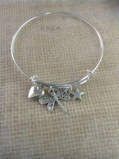 Bracelet with heart, fire fly and star charms-Alex and Ani inspired