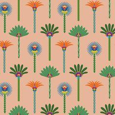 pattern design, palm trees, surface pattern, illustration, by Eva Lechner