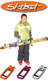 Skibat - French solution uniting both skis and turning the poles into a handle to easily carry your skis