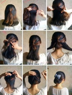 Easy Updos for Medium Hair Step by Step - Frisuren Pretty Hairstyles, Cute Hairstyles, Easy Hairstyle, Hairstyle Pictures, Hairstyle Ideas, Medium Hair Styles, Short Hair Styles, Hair Medium, Victorian Hairstyles