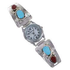 Zuni Sterling Silver Turquoise And Coral Snake Effie Calavaza Watch RX91520