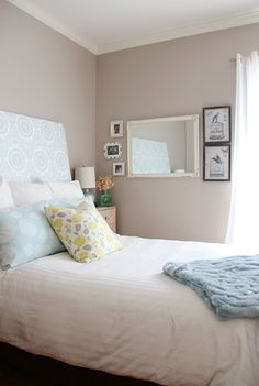 Kyle's Cottage in the City House Tour | Apartment Therapy - great upholstered headboard