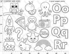 Alphabet Digital Stamps  Part 5  OPQR clip art  School