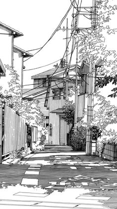 Cityscape Drawing, City Drawing, Black And White Wallpaper Iphone, Black And White Background, Background Drawing, City Background, City Sketch, Anime City, Architecture Sketchbook