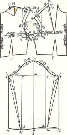 Чертеж лифа с углубленными проймами: A-спинка; 6 — перед; в — рукав рубашечного покроя