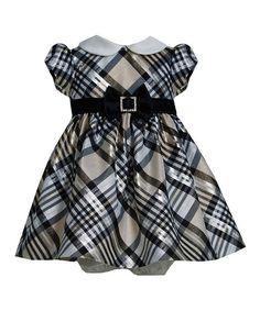 Look what I found on #zulily! Gold & Gray Plaid Buckle Dress - Infant #zulilyfinds