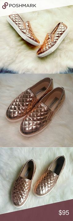 Steve Madden Rose Gold Sneakers Women's size 7.5, very comfortable, fits true to size!  Lovely Condition! Only worn once! Slight signs of wear on bottom and sides.  Bundling 20% off 2 or more!   Accepting only reasonable offers! Steve Madden Shoes Sneakers