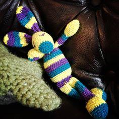 Mala the funky bunny, Crocheted Bunny, Gehäkeltes Häschen, gehäkeltes Kaninchen, Amigurumi Bunny, made to order by TeeliciousBoutique on Etsy