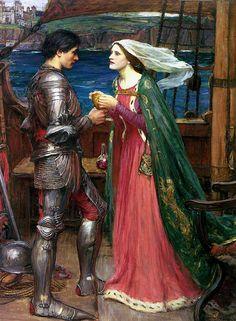 Guinevere and Lancelot Painting | Tristan et Iseult boivent le filtre magique, par Waterhouse