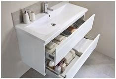 Fresca Mezzo 48 White Wall Hung Double Sink Modern Bathroom Vanity with Medicine Cabinet Modern Bathroom Sink, Double Sink Bathroom, Modern Bathroom Design, White Bathroom, Bathroom Vanities, Small Double Sink Vanity, Bathroom Ideas, Bathroom Organization, Master Bathrooms