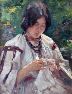 Peasant Woman Sewing Nicolae Vermont Romanian Read more HERE Pc Image, Russian Painting, Labor, Sewing Art, Paintings I Love, Painting & Drawing, Character Inspiration, Needlework, The Incredibles