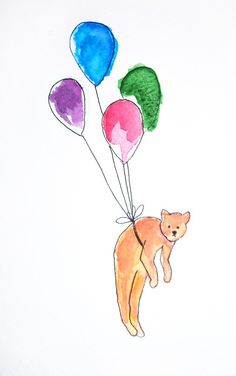 cat, balloons