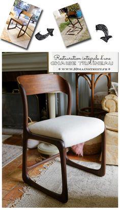 Restauration intégrale d'une chaise traîneau Baumann #midcentury Diy Organisation, Shabby, Pinterest Diy, Repurposed Furniture, Vintage Design, Accent Furniture, Decoration, Furniture Makeover, Floor Chair