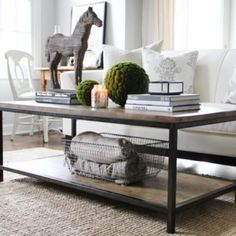 A possible coffee table for our LR. Side view of the table from Ballard Designs. ~How to Style a Coffee Table Decor, Home Living Room, Interior, Table Style, Coffee Table Design, Home Decor, Table Decorations, Decorating Coffee Tables, Coffee Table