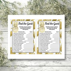 Pineapple Find the Guest bridal shower game Printable Summer