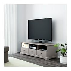 IKEA - LIATORP, TV bench, grey, , Smooth-running drawers with drawer stops to keep them in place.The opening at the back allows you to easily gather and organise all wires.