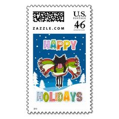 Kitten and Colorful Happy Holidays Stamps :) #Kitten #Cat #Postal #Stamps #Holiday #Christmas #Snow #Colorful