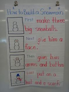 Snowman writing-anchor chart for how to! Snowman writing-anchor chart for how to! Procedural Writing, Informational Writing, Teaching Writing, Writing Activities, Winter Activities, Preschool Winter, Writing Prompts, Writing Traits, Informative Writing