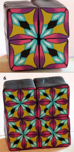 Tuto cane mosaïque! Free polymer clay kaleidoscope tutorial by ArtizanArt.