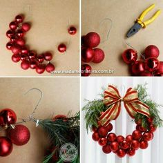 Como fazer Guirlanda de Natal com uma Cabide - Dicas e passo a passo com fotos - How to make a Wreath with a hanger and Xmas balls - DIY - T.Use a Hanger & Christmas Balls to make a Wreath.these are the BEST DIY Holiday Wreath Ideas! Noel Christmas, Christmas Tree Ornaments, Ball Ornaments, Christmas Christmas, Diy Ornaments, Christmas Tree Ideas, Christmas Stairs, Christmas Garlands, Christmas Music