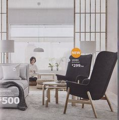 Återigen fåtöljerna, snyggt med ett mindre bord till och en snygg färgad matta. Blir en snygg grupp.  9: VEDBO High Back Armchair — Top 10 Favorite New IKEA Products Countdown