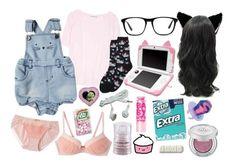 """ddlg -kitty-"" by princess-llyssa ❤ liked on Polyvore featuring Acne Studios, Maybelline, Urban Decay, Wrigley's, Ace, Forever 21 and HOT SOX"