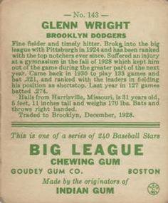 1933 Goudey #143 Glenn Wright Back