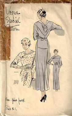 Vogue Special Pattern s-3711 | 1930s dress