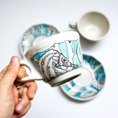 DIY decorated tea set---I am going to do with this my glasses though to match my dishes