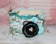 Bird Fabric Cuff Bracelet-love the blue hues