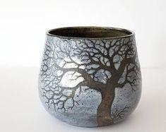 Sgraffito Stoneware Moon Raven Tree Mug in Stormy Grey Glaze - Handmade Functional Ceramic Art by Katherine by MuddyRaven on Etsy