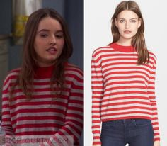 Eve Baxter / Kaitlyn Dever red and grey stripe sweater in 6x11 of Last Man Standing - My Name Is Rob