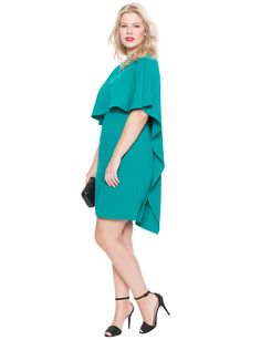 Studio Cascade Capelet Dress | Women's Plus Size Tops | ELOQUII