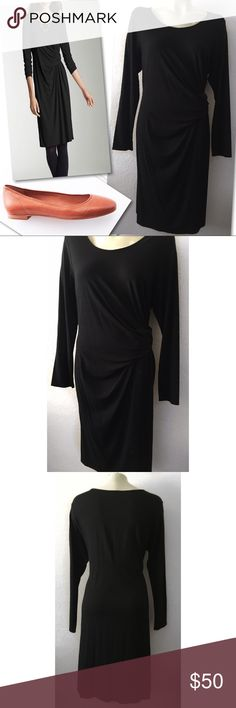 "J.JILL WEAREVER STRETCH BLACK TWIST WAIST DRESS L J.JILL WEAREVER COLLECTION STRETCH BLACK TWIST WAIST DRESS L - 44-46"" bust 45"" length J. Jill Dresses Long Sleeve"