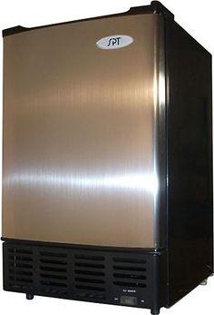 """SPT - 15"""" 12-Lb. Freestanding Icemaker - Black/Stainless Steel (Black/Silver), IM-150US"""