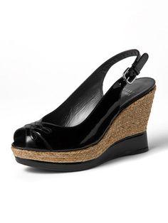 Stuart Weitzman - enamel leather wedge sandals