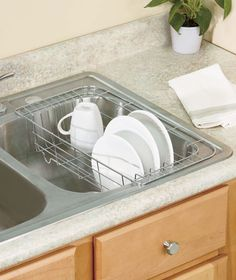 Chrome expandable sink dish drying drainer rack w utensil basket sink dish racks ltd commodities 595 185 long by 95 wide and workwithnaturefo