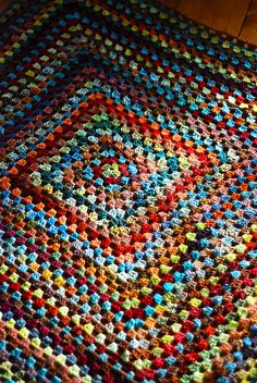 Handspun Granny Square by throughtheloops,  - like the colors here via Flickr