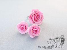 """Комплект """"Розовые розы"""" (кольцо и серьги)"""