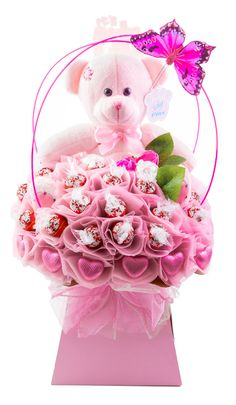 Baby Girl Chocolate Bouquet - The Chocolate Florist Chocolate Boquet, Chocolate Flowers, Pink Chocolate, Chocolate Gifts, Chocolate House, Chocolate Hearts, Candy Bouquet Diy, Bouquet Box, Diy Bouquet