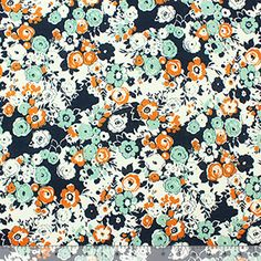 Blue Jade and Caramel Floral on White Cotton Jersey Knit Fabric