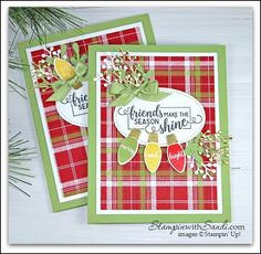 A Little Plaid Making Christmas Bright - Sandi MacIver - Papercraft Artist Merry Christmas To All, Stampin Up Christmas, Christmas Countdown, Christmas Lights, Christmas Decorations, Christmas Rose, Holiday Lights, Winter Cards, Holiday Cards