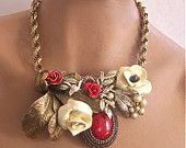 Necklace Red Roses and Cherry Blossom Vintage  a Second Look Vintage