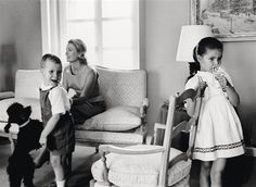 Luc Fournol, Grace Kelly with her children Caroline and Albert
