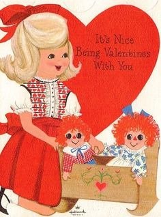 UNUSED vintage Valentine card, cute girl with Raggedy Ann and Andy dolls,