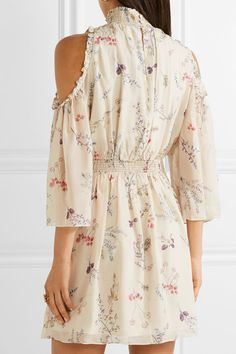 Buy Cheap Good Selling Cheap Newest Meade Cold-shoulder Floral-print Silk-chiffon Mini Dress - Ivory Rachel Zoe Buy Cheap Popular Kk1VqpfPe