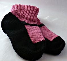 Knit Slipper Sock Adult Maryjane Black by Nothingbutstring on Etsy